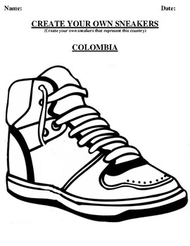 COLOMBIA Design your own sneaker and writing worksheet