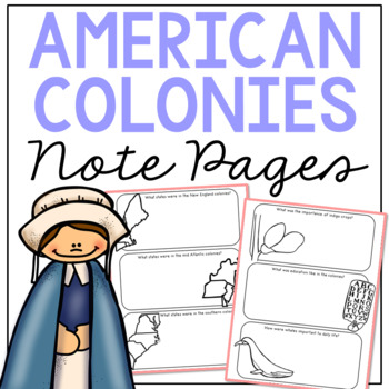 COLONIAL AMERICA Research Activity | American History Illustrated Notebook Pages