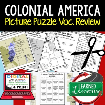 COLONIAL AMERICA Picture Puzzle Unit Review, Study Guide, Test Prep