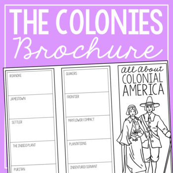 COLONIAL AMERICA Research Brochure Template, American History Project
