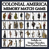 COLONIAL AMERICAN CHARACTERS - MEMORY MATCHING GAME