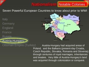 IMPERIALISM, COLONIALISM, NATIONALISM 1800-1914 AUSTRIA-HUNGARY P 6 of EPIC UNIT