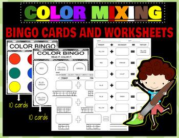 COLOR BINGO / COLOR MIXING WORKSHEETS