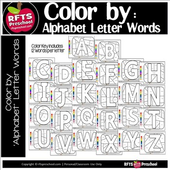 COLOR BY ALPHABET LETTER WORDS AND WRITING PROMPTS