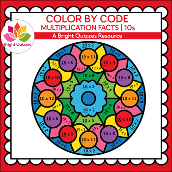 COLOR BY MULTIPLICATION FACTS | 10s | MANDALA 10