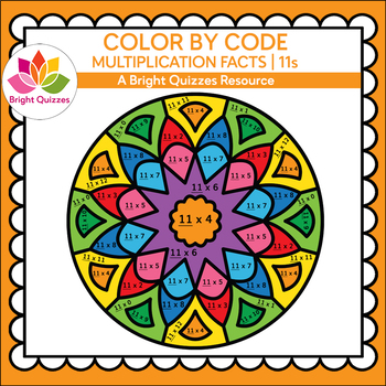 COLOR BY MULTIPLICATION FACTS | 11s | MANDALA 11