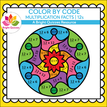 COLOR BY MULTIPLICATION FACTS | 12s | MANDALA 12