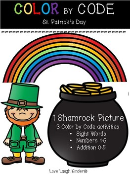 COLOR BY CODE--- Sight words, numbers, addition-- St. Patrick's Day!