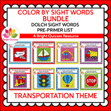 COLOR BY DOLCH SIGHT WORDS BUNDLE | PRE-PRIMER LIST | TRAN