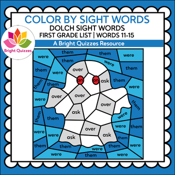 COLOR BY DOLCH SIGHT WORDS | FIRST GRADE LIST | WORDS 11-15 | GHOST