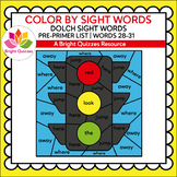 COLOR BY DOLCH SIGHT WORDS | PRE-PRIMER LEVEL | WORDS 28-3