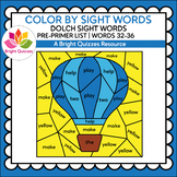 COLOR BY DOLCH SIGHT WORDS | PRE-PRIMER LEVEL | WORDS 32-3