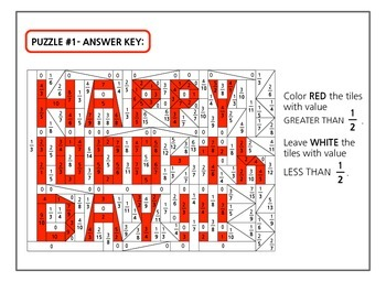 COLOR BY MATH  - - 5th grade 1000th day of school set - - fractions and decimals