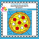 COLOR BY MULTIPLICATION FACTS | 0s AND 1s | PIZZA