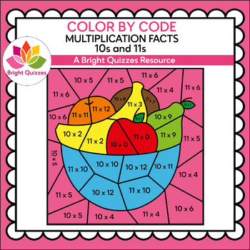 COLOR BY MULTIPLICATION FACTS | 10s AND 11s | BOWL OF FRUIT
