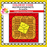 COLOR BY MULTIPLICATION FACTS | 4s AND 5s | WAFFLE