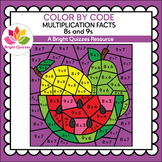 COLOR BY MULTIPLICATION FACTS | 8s AND 9s | WATERMELON, PE