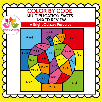 COLOR BY MULTIPLICATION FACTS | MIXED REVIEW | RAINBOW APPLE