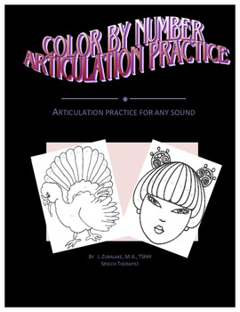 SPEECH THERAPY COLOR BY NUMBER ARTICULATION PRACTICE- for Any Sound