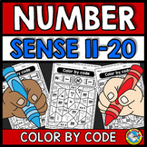 COLOR BY NUMBER SENSE WORKSHEETS (TEEN NUMBERS KINDERGARTEN ACTIVITY)