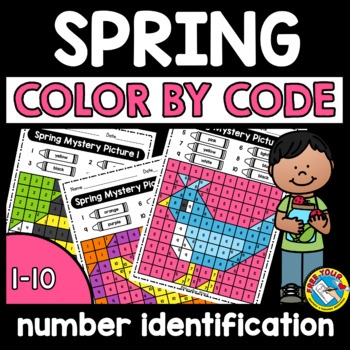 COLOR BY NUMBER SPRING ACTIVITY PRESCHOOL WORKSHEETS