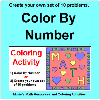 "COLOR BY NUMBER:  VALENTINE""S DAY MATH DESIGN"
