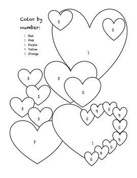 COLOR BY NUMBER VALENTINES ACTIVITY FOR THE DUAL CLASSROOM