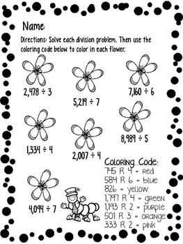 COLOR BY NUMBERS Differentiated, Print & Go Printables for Multi-Digit Division