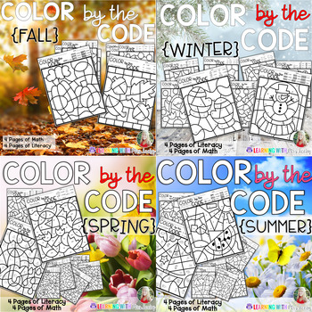 COLOR BY THE CODE - SEASONS - Math and Literacy for Kindergarten