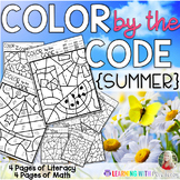 COLOR BY THE CODE - SUMMER - Math and Literacy for Kindergarten