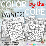 COLOR BY THE CODE -WINTER - Math and Literacy for Kindergarten