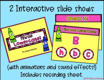COLOR BY THE LOWERCASE AND UPPERCASE LETTER with Interactive Slide Show