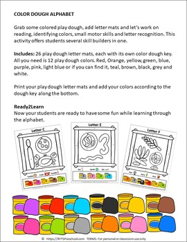COLOR DOUGH ALPHABET MATS with COLOR -BY-NUMBER-KEY