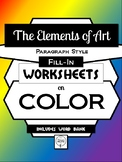 COLOR- Elements of Art Worksheet Packet PARAGRAPH STYLE FILL-IN