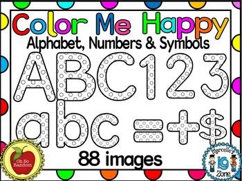 COLOR ME HAPPY! Alphabets, Letters,Numbers, Symbols Clip A