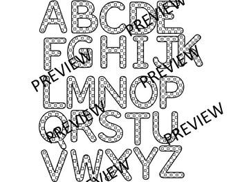 COLOR ME HAPPY! Black and  white Alphabets, Letters,Numbers, Symbols Clip Art