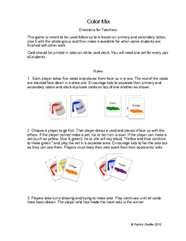 COLOR MIX art card game - PRIMARY and SECONDARY COLORS