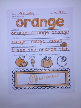 COLOR OF THE WEEK - ORANGE - Learning Colors in the Classroom