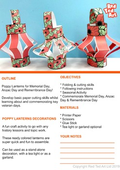 COLOR PAPER Poppy Lanterns for Memorial Day, Remembrance Day & Anzac Day