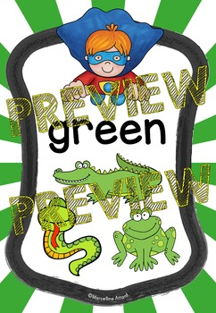 SUPERHERO CLASSROOM THEME DECOR (COLORS POSTERS FOR KINDERGARTEN, PRESCHOOL, ETC