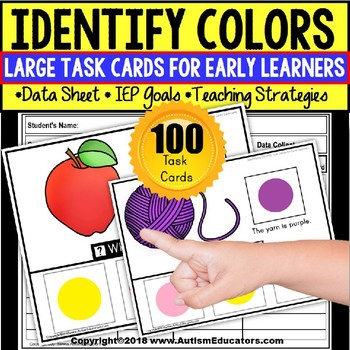 COLOR RECOGNITION Large Task Cards for Early Learners and Special Education