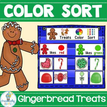 COLOR SORT: Gingerbread Treats{PreK/SPED/Autism}
