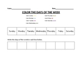 COLOR THE DAYS OF THE WEEK