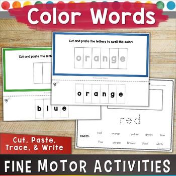 COLOR WORDS: Fine Motor/ OT Activity NO PREP!