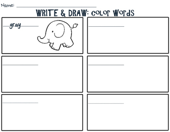 COLOR WORDS: Write & Draw!