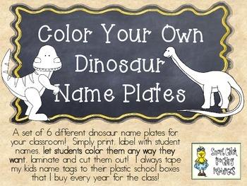COLOR YOUR OWN Dinosaur Nameplates w/ Cursive Alphabet ~ 6 Different Versions