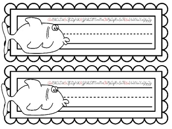 COLOR YOUR OWN Fish Nameplates w/ Cursive Alphabet ~ 7 Different Versions