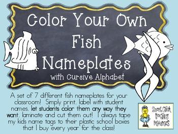 COLOR YOUR OWN Fish Nameplates w/ Cursive Alphabet ~ 7 Dif