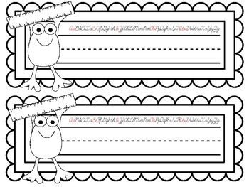 COLOR YOUR OWN Frog Nameplates w/ Cursive Alphabet ~ 7 Different Versions