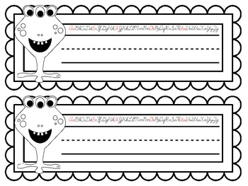 COLOR YOUR OWN Monster Nameplates w/ Cursive Alphabet ~ 7 Different Versions